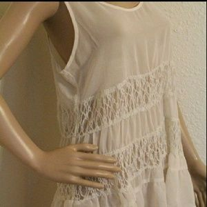 Charming Charlie sheer lace cream tank top blouse